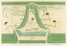 Art Deco Interior Design, Featuring Cavorting Centaurs, by Edmund Dulac. Art Deco, Art Nouveau, Green Palette, Edmund Dulac, Centaur, Watercolor Drawing, Room Paint, Modern Art, Aurora Sleeping Beauty