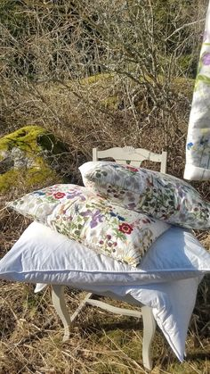 Cleaning day. Pillows outside. Early spring.