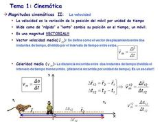 Tema 1: Cinemática La velocidad Magnitudes cinemáticas II: La velocidad La velocidad es la variación de la posición del móvil por unidad de tiempo Mide.