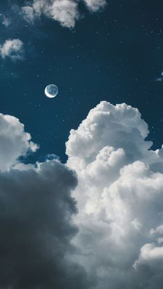 White Clouds Twilight Moon iPhone Wallpaper - Best of Wallpapers for Andriod and ios
