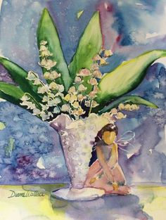 ARTFINDER: Blessings by Diane Wallace - Tucked beneath the lilies of the valley in the antique milk glass bowl, this #littleangel is sending blessings your way.  Painted with Daniel Smith's watercolor pInts and o...