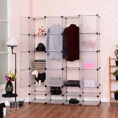 costway diy 168 cube portable clothes wardrobe cabinet closet storage organizer wdoors
