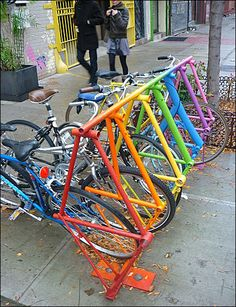 Bike Rack Recycled from Bicycles
