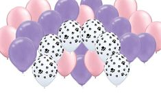 """Paw Print Pink & Purple 12"""" round latex balloons. Perfect for Dog, Animal, or Paw Patrol inspired theme Girl party."""