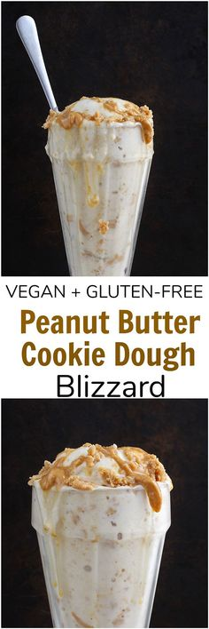 vegan Peanut Butter Cookie Blizzard - This vegan Peanut Butter Cookie Blizzard is a healthy, gluten-free treat! Simple and easy to make, this blizzard is full of no-bake peanut butter cookies and swirls of peanut butter. Gluten Free Peanut Butter Cookies, Butter Cookies Recipe, Gluten Free Sweets, Vegan Dessert Recipes, Dairy Free Recipes, Whole Food Recipes, Snack Recipes, Vegetarian Recipes, Healthy Desserts