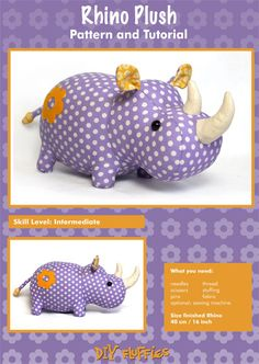 Rhino Plush - PDF Accessory Pattern by Mariska Vos-Bolman for DIY Fluffies Sewing Toys, Baby Sewing, Sewing Crafts, Sewing Projects, Fabric Animals, Sock Animals, Sewing Stuffed Animals, Stuffed Animal Patterns, Fabric Toys