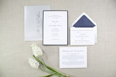 Navy Layered Wedding Invitation   Beloved Paper