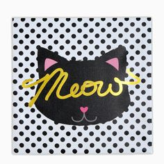 A cat! Polka dots! Gold foil! A small pink heart instead a nose! Who wouldn't want this adorable wall art to make a home look significantly more awesome? Measuring 12 in. x 12 in., this wall decor pie