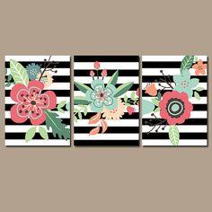 Preppy Flower Wall Art Artwork Black White Stripes by TRMdesign