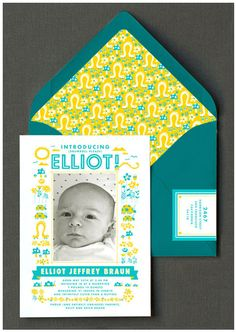Baby announcements. I love the colors and those envelopes!