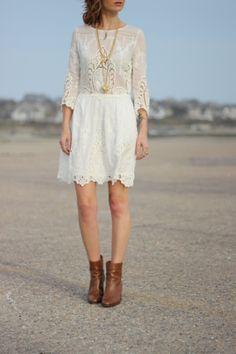 embroidery and ankle boots #jcrew @Jennifer Souza Vita Valentina dress #proseccoandplaid