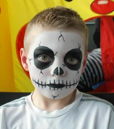 Halloween face painting for kids - Skeleton face paint idea kids makeup boys 11 Amazing Halloween Face Painting Ideas for Kids Kids Skeleton Face Paint, Face Painting Halloween Kids, Zombie Face Paint, Halloween Makeup For Kids, Face Painting For Boys, Face Painting Designs, Skeleton Face Makeup, Halloween Facepaint Kids, Simple Face Painting