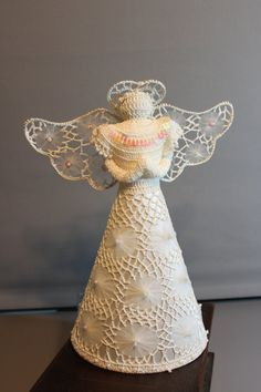 """STUNNING 13"""" Vintage crochet angel, ornate lace hand made angel tree topper ornaments ,faux pearls, irridescent accents"""