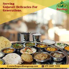 Gordhan Thali is a true representative of great Gujarati food and tradition. Call us at 079 2687 1222 Gujarati Thali, Gujarati Recipes, Ahmedabad, Foodies, Traditional, Fans, Fandom
