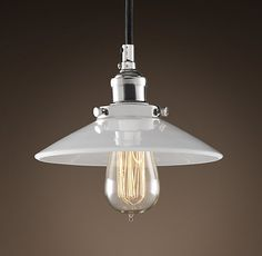 """Cool pendant light (RH) .... maybe over the counter?Love the milk glass shade and the """"Edison style filament bulb"""""""