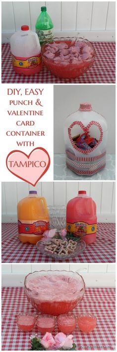 The Ultimate Pinterest Party, Week 136 | Make an easy punch using 3 ingredients and upcycle the #TampicoJuice jug to make a Valentines container. #ad  #LoveMyTampico  #DrinkTampico  #ColorYourWorld