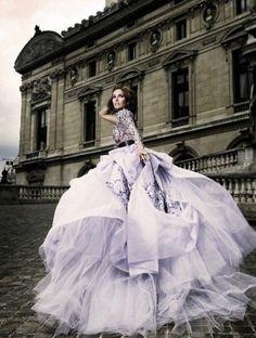 beautiful purple pastel gown