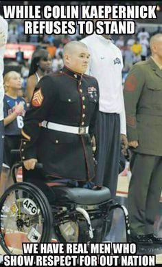 Zachary Stinson, USMC, uses his arms to stand for the playing of the National Anthem. Words cannot explain how inspiring this is. (This is truly an American Hero. May God bless him and all our other military. We Are The World, In This World, My Champion, Support Our Troops, Real Hero, National Anthem, Military Life, Military Humor, Military Spouse