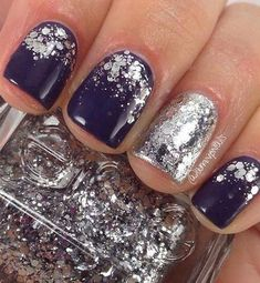 12 Amazing Nail Designs For Short Nails 12 Amazing Nail Designs For Short Nails: Navy Nails with Silver Glitter Purple Nail Designs, Winter Nail Designs, Short Nail Designs, Gel Nail Designs, Nails Design, Dark Purple Nails, Navy Nails, Navy And Silver Nails, Dark Blue