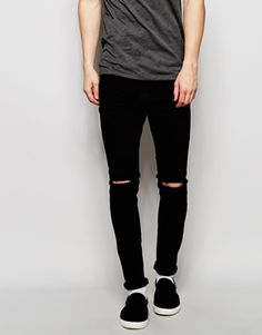 Pull&Bear Super Skinny Fit Jeans in Black with Knee Rips