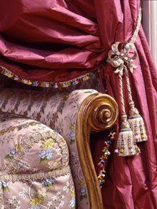 Detail of the silks inside Chateau de Flecheres (1605-1625), Lyon, France