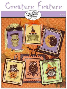 10% OFF Pre-order NEW Creature Features 6 Designs Halloween cross stitch pattern by Sue Hillis Designs at thecottageneedle.com witches by thecottageneedle