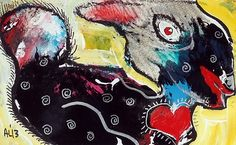 Original LABEDZKI Abstract Painting Outsider Art Bunny with A Big Heart 5x8 In | eBay