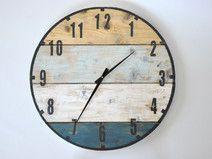 Zegar duży ze starych desek - marynistyczny