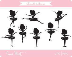 Cute art set of ballerinas in various poses and positions.    Format: 300 dpi JPG and transparent PNG files (No physical products will be sent).    All