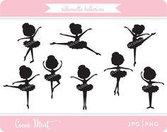 Silhouette Ballerina Clip Art от cocoamint на Etsy
