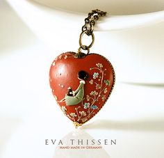The Reader. Original signed wearable art. Made to order hand made polymer clay pendant for the book lovers by Eva Thissen Gallery, via Flickr