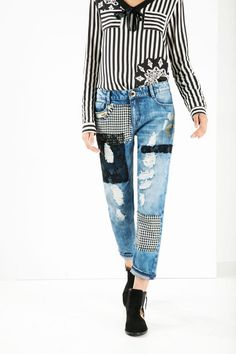 Ripped ankle grazer jeans   Desigual.com
