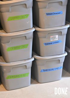 If you don't already keep your seasonal items in tubs like these, go ahead and make the investment to purchase the storage that you can also use for moving