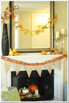 12 Fabulous fall-mantles~ I love the pumpkins and candles inside fireplace Tall Fireplace, Fireplaces, Simple Fireplace, Fireplace Ideas, Autumn Decorating, Mantle Decorating, Decorating Ideas, Decor Ideas, Fall Bunting