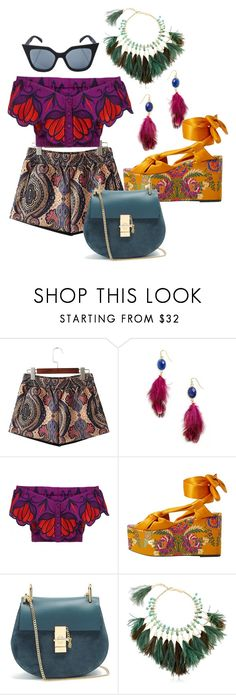 """""""Plume"""" by briaud ❤ liked on Polyvore featuring Panacea, Alice McCall, MANGO, Chloé, Rosantica and Quay"""