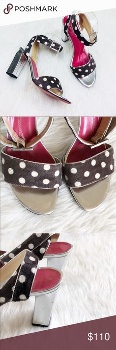 """Kate Spade Polka Dot Sandals Gently used. With some MINOR scratches on both heels.  Details -Heels style: block  -Heels height: 3.75"""" -True to size  NO TRADES! kate spade Shoes Sandals"""