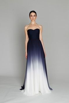 Monique Lhuillier strapless ombre gown.