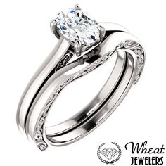 Vintage Inspired Oval Engagement Ring with Side Detail and Matching Wedding Band  #engagementring #weddingband
