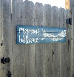 Mermaids Welcome Poolside Sign -- Welcome your local mermaids to your pool. #decoartprojects