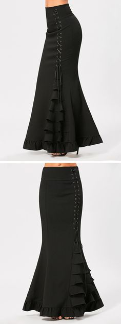 The mermaid skirt featuring high waist, criss-cross lace-up and ruffles, overall looks slim and tall, shows elegant and concise, full of female charm. Skirt Outfits, Chic Outfits, Dress Skirt, Skirt Fashion, Hijab Fashion, Fashion Dresses, Estilo Hippy, Older Women Fashion, Mermaid Skirt