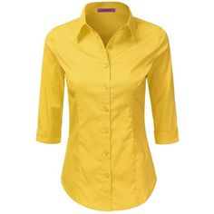 LA BASIC Womens 3/4 Sleeve Button Down Point Collared Shirts YELLOW S ❤ liked on…