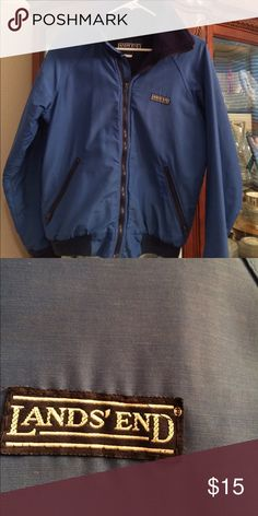 """Lands End fleece lined jacket """"The Squall"""" Royal Blue with navy fleece inside. 2 slant zipper pockets in front. Not a thing wrong with it. Boys large. Lands End Jackets & Coats"""