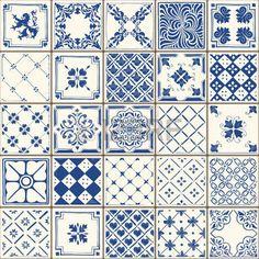 indigo color: Indigo Azul Azulejos Suelo Adorno Colección