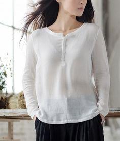 Round Collar Loose Crinkle Cotton Shirt-zenb.com SKU ba0586