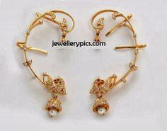 Cute Allover earrings with diamonds - Latest Jewellery Designs