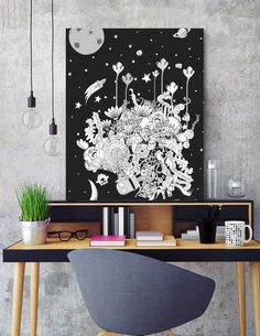 «Into the darkest night» #cartoon #kids #kidsart #cute #cool #space #galaxy #moon #planet #stars #explore #adventure #monsters #animals #tree #decor #bedroom #children #parents #gifts