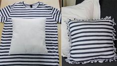 t shirt pillow Recycled T Shirts, Recycled Crafts, Sewing Pillows, Diy Pillows, Throw Pillows, Decorative Pillows, Cushions, Jeans Recycling, No Sew Pillow Covers
