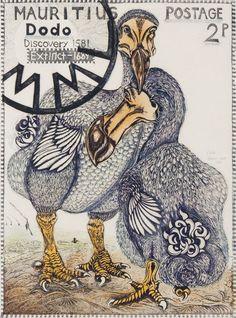 Dodo 11/50, by Richard Calver, linocut (14.75x10.75 in) 2009