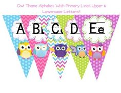 This pennant banner serves not only as an alphabet but as a colorful decoration. Whether you are going with an owl theme this year or just want to add a pop of color, this is the alphabet for you.  Especially perfect for K-2!!!Pennant are large so they can be seen from across the room.