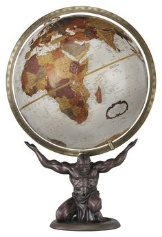 Features:  -Table or desk globe.  -Beautiful bronze resin replica base.  -Raised-relief detailing.  -Full metal die-cast meridian.  -Displays political boundaries.  -Globe diameter: 12''.  Product Typ